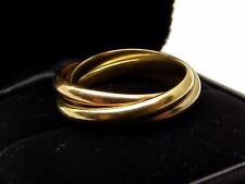 Vtg Tiffany & Co 18K Gold Rolling Ring Sz 8 Triple Band Tri Color White Rose
