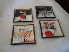 SET 4 BLACK GLASS SQUARE COASTERS- FRANCE/ ITALY /BRITAIN /SPAIN-RED/WHITE/GOLD
