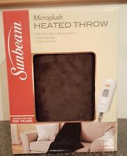 Sunbeam Microplush Electric Heated Throw Blanket Walnut Brown- TSM8US-P470-41A55