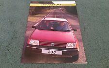 October 1984 1985 PEUGEOT 205 5 DOOR UK BROCHURE GE GL GR GRD GT Dealer Sticker