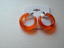 1x Orecchini in arancione. 3,5 cm circonferenza. in PLASTICA. minicreolen. Orecchini a bottone