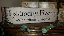 Primitive Sign Laundry Room ~wash~rinse~fold~dry Wooden Sign