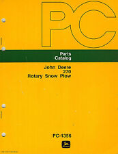 JOHN DEERE 270 FRONT MOUNT ROTARY SNOW PLOW (SNOWBLOWER)   PARTS MANUAL  jd