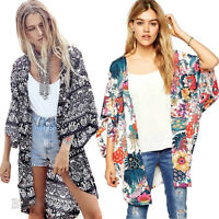 Fashion Women Floral Chiffon Blouse Summer Kimono Cardigan Coat Top Loose Jacket