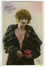 1920s French Deco LOVELY BLOND FLAPPER Glamour Glamor photo postcard
