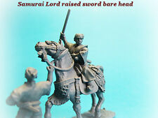 SAM28 - Mounted Samurai Lord Bare Haed Raised Sword and Retainer