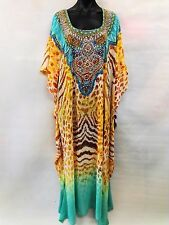 Bright Long Sheer Embellished Kaftan Tunic Digital Printed Size16-18-20-22-24-26