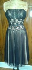White House Black Market Tulle Lace Dress Champagne Trim Bustier Strapless Sz 2