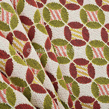 White Pink Green Small Circle Medallion Pattern Weave Chenille Upholstery Fabric