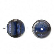 1840 Dichroic Round Glass Beads Blue Black Clear PK2 14mm *UK EBAY SHOP*
