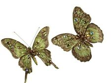 "2 NWT 5"" Wired Gold Bronze Green Gold Jeweled BUTTERFLY Clip CHRISTMAS Ornaments"