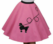 "Hot Pink FELT Poodle Skirt _ Gilr Size SMALL (Ages 4-6) _ Waist 18""- 23"" _ L 18"""