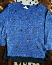 New Lovely JESSICA SIMPSON UK10 Size S Blue Embellished Lash Sweater Jumper $89