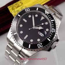 BLIGER 43mm black sterile dial black bezel SUB Automatic movement men's watch