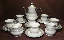 17 Pcs. Gorgeous Silver Accent Fine Porcelain China Coffee / Tea Set