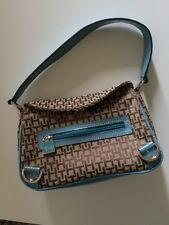 TF Tommy Hilfiger Logo Tan Brown Purse Hand Bag Mini Satchel Turquoise Patent Le