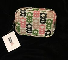 Orla Kiely Flower Cosmetic Bag Stem Make Up Pink Black White Blue Green Office