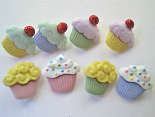 Mini Cupcakes Novelty Buttons/DIY Sewing supplies/Eight Plastic Buttons