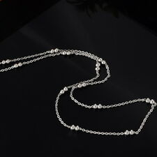 Stainless Steel 19.5 Inch Flat Curb Double Ball  Chain Necklace