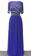 NEW Blue Maxi Dress Gatsby Dress Embellished Bridesmaid Party Gown SIZE 24