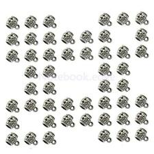 50Pcs Tibetan Silver Charms Connector Spacer Bail Beads 8x7mm Jewelry Making