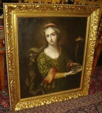 Antique England Medieval Queen Portrait with Crown and Mask Oil Painting C.1840