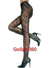 SPANDEX/LYCRA Rose Bloom LACE Pantyhose  - BLACK O/S