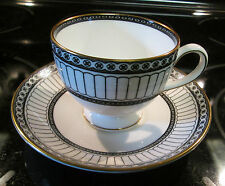 WEDGWOOD COLONNADE BLACK CUP AND SAUCER EUC