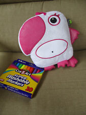 "The Bridge Direct Inkoos Pink/White Parrot Plush Stuffed  8""x9.5 New 10 Markers"
