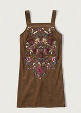 NWT Abercrombie & Fitch Women EMBROIDERED FAUX SUEDE SHIFT DRESS Size:6 Msrp:68$