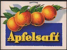 Werbepappe - Pappschild - Reklameschild - APFELSAFT- cardboard sign / signe en..