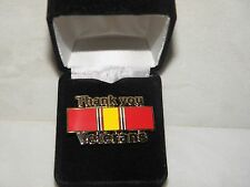 """""""THANK YOU VETERANS"""" PIN NATIONAL DEFENSE RIBBON ARMY NAVY AIR FORCE MARINE"""