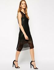 Diesel Consuelo Black And Mesh Iridescent Midi Dress 2 in 1 XS/ UK 8/EU 36/US 4