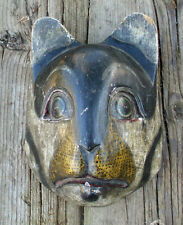 Vintage Wild Cat Mask Carved Painted Wood Sculpture Head Wooden Wall Hanging