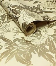 Cream and Metallic Gold, Floral Design Wallpaper