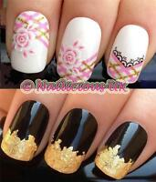 NAIL ART SET #20. FRENCH TIPS WATER NAIL TRANSFERS/DECALS/STICKERS & GOLD LEAF