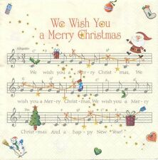 2 Serviettes en papier Musique Joyeux Noël Paper Napkins Music We Wish You