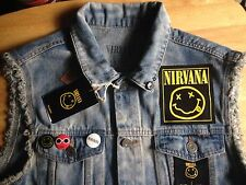NIRVANA SMILEY Cut-Off senza maniche Giacca di Jeans Pull & Bear MED. grunge punk rock