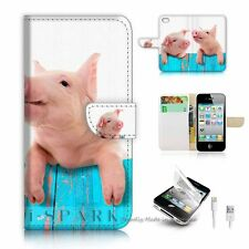 iPhone 5C Flip Wallet Case Cover! S8645 Cute Pig