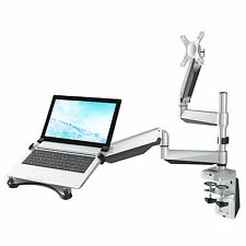 "Dual Arm Desk Laptop Mount Monitor Arm for 10""-27"" LCD & 10.1""-17.3"" Notebook"