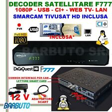 DECODER SATELLITARE HD S2 DIGIQUEST F777 LINUX+ SMARCAM TIVUSAT FULLHD,PVR,USB