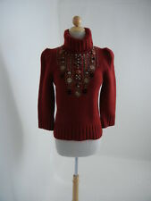 Oscar de la Renta (Sz.M, fit S) Red-Wine 100% Cashmere Beaded Turtleneck Sweater