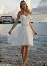New Short Beach White/Ivory Wedding Dress Bridal Gowns Custom 4 6 8 10 12 14 16+