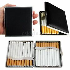 Black Pocket Leather Metal 20 Cigarette Smoke Holder Storage Case