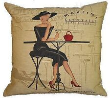 """NEW 18"""" 45CM FEMME ELEGANTE SERIES, MARTINI COCKTAIL TAPESTRY CUSHION COVER 4481"""