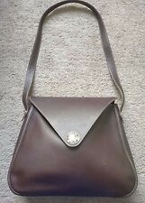 Authentic Hermes Christine Bag Havana Brown Buffalo Leather Stamp B 1998