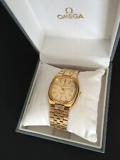 VINTAGE OMEGA SEAMASTER MEN'S QUARTZ 18K-GP GOLD DIAL DATE WATCH