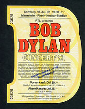 1981 Bob Dylan Unused Concert Ticket Shot of Love Tour Europe Mannheim Germany