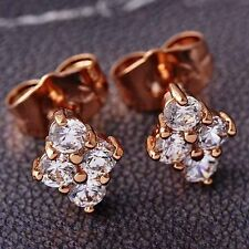 Bright swarovski crystal Stud Earrings free shipping Rose Gold Filled for Women