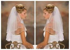 Schleier 2lg zweilagig Brautschleier mit Satin kante ivory